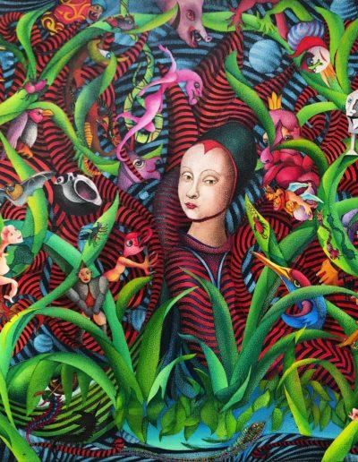 Hommage à Petrus Christus (Ritratto di ragazza francese), 2012, 52x52 cm